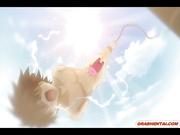 Busty hentai japonés bigcock sopla y chupando semen