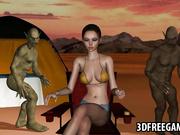 Nena caliente 3D se pone doble se unieron por goblins en el desierto