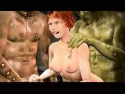 Chica animada 3D atrapada y follada por monstruos