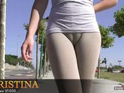 Adolescente pantalones apretados su marcar coño