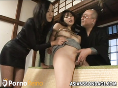 Image Tied up chinese babe gets spanked and dildo drilled