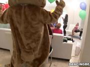Putas salvajes ponen la basura en el oso que baila